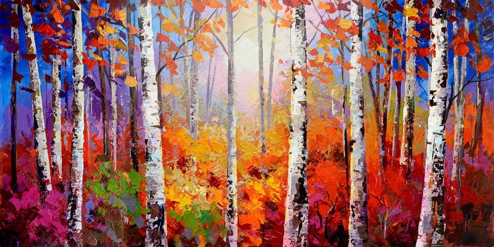 schilderij bomen 70x140