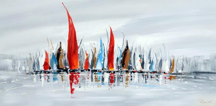 schilderij boten 70x140