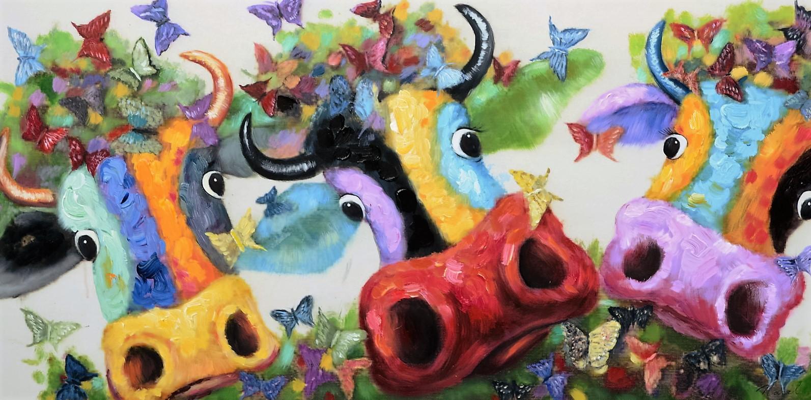 schilderij koeien 70x140
