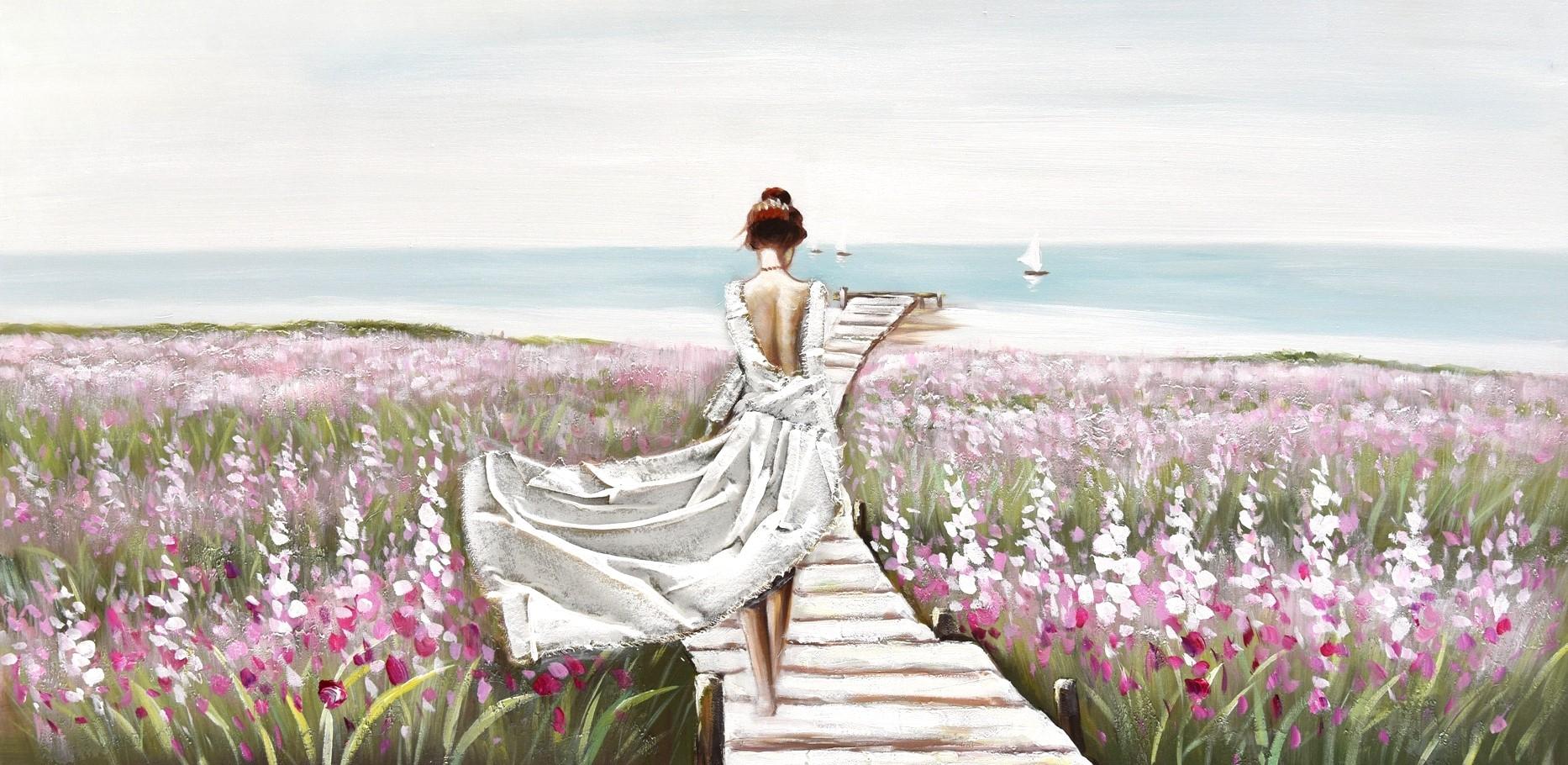 schilderij vrouw in landschap 70x140