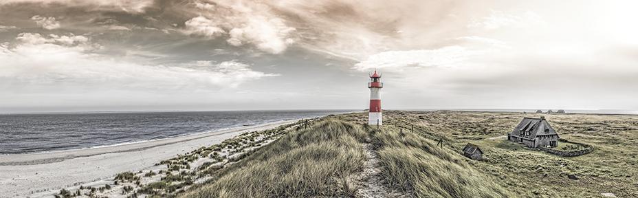 fotokunst strand met vuurtoren 60x150