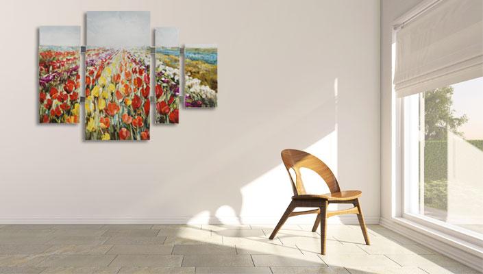 4 delig bloemen schilderij