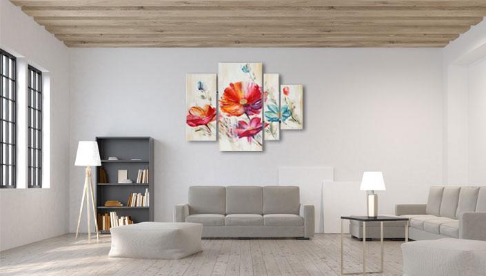 4 delige schilderij bloemen