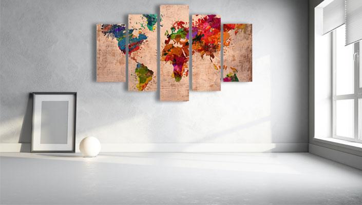 Wereldkaart 5 delig