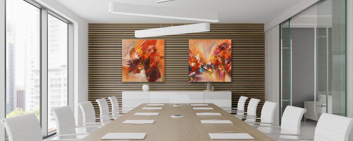 Abstracte schilderijen kantoor