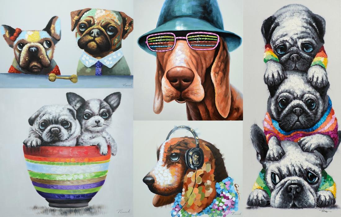 Vrolijk honden schilderij