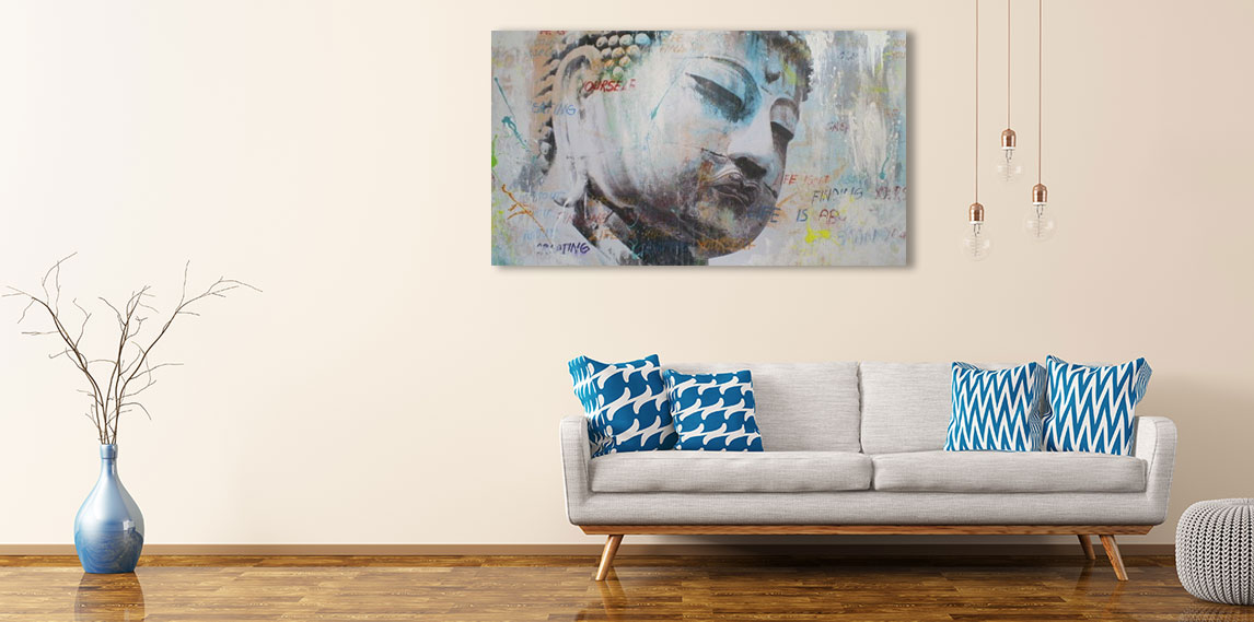 Boeddha kunst aan de muur