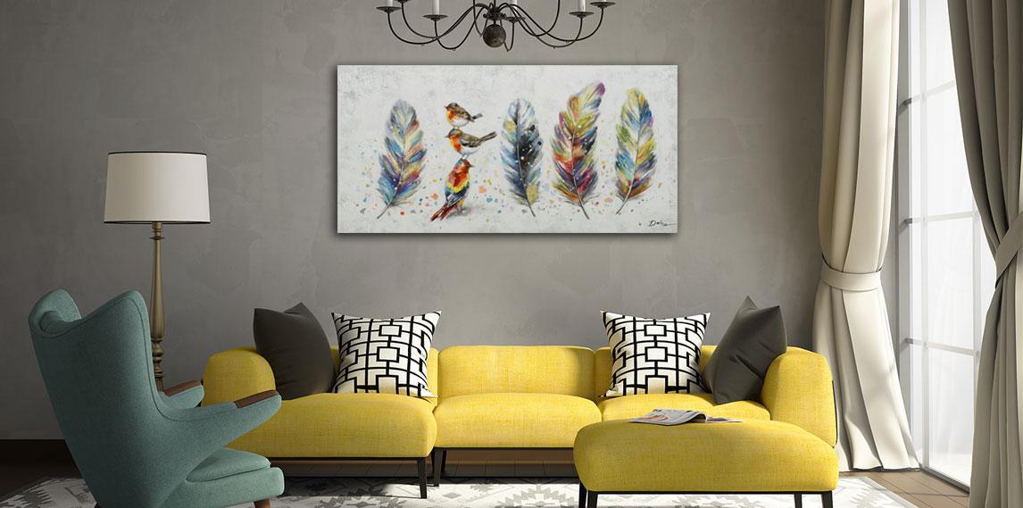 Vogel kunst aan de muur