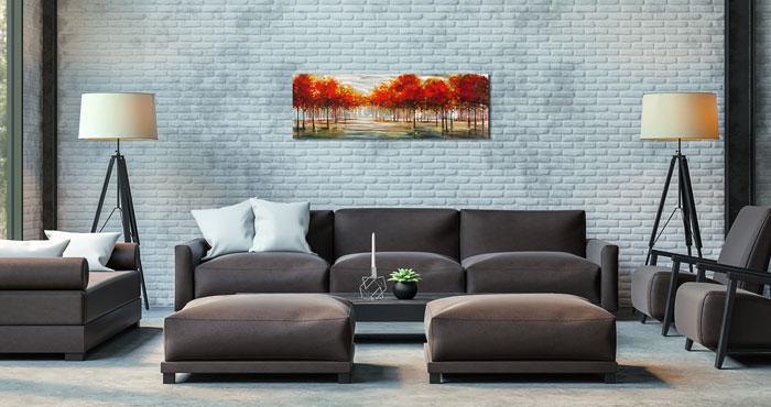 Rood Landschap schilderij