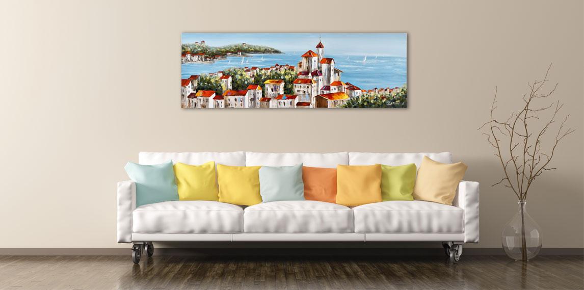 Landschap schilderij aan de muur