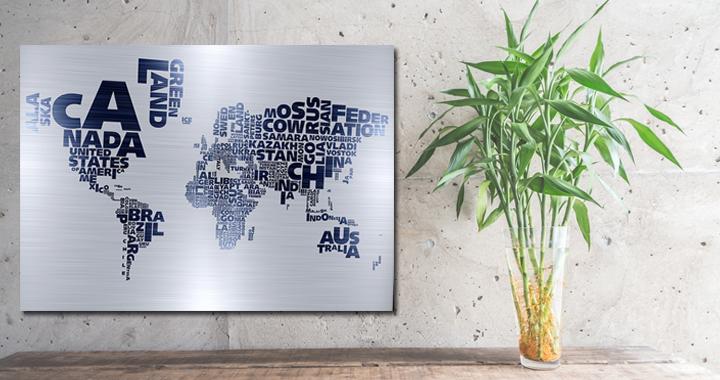 Schilderij wereldkaart