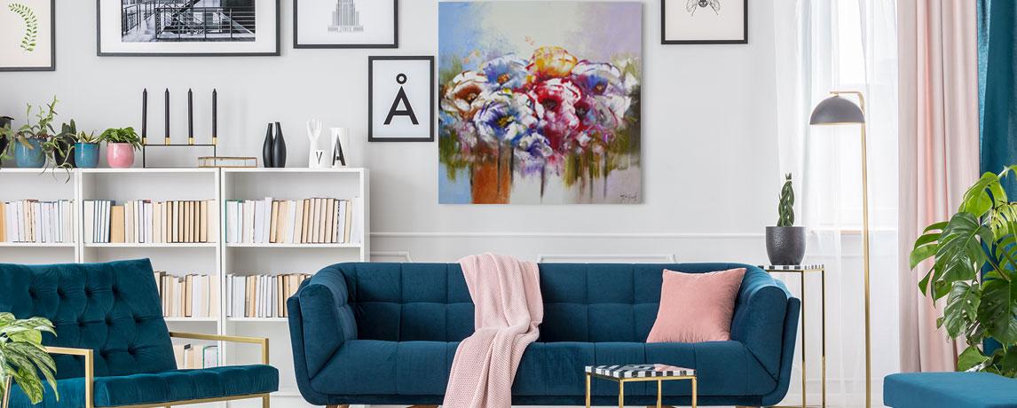 Bloemen schilderij in woonkamer