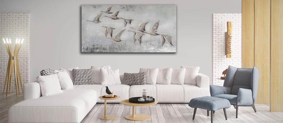 Zwart wit schilderij vogels