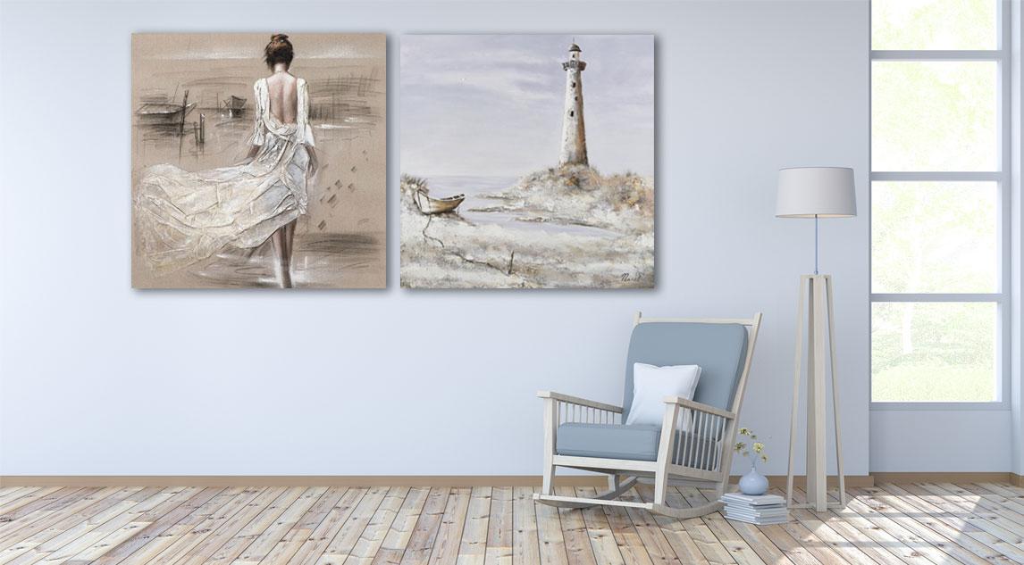 Zwart wit schilderij interieur