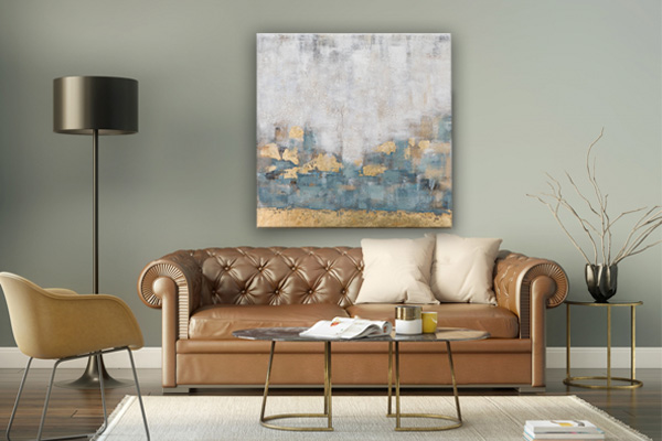 abstract schilderij boven bank