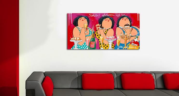 Sunday afternoon tea schilderij Dikke Dames