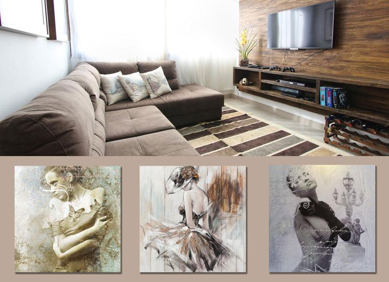 aardetint schilderij met vrouw