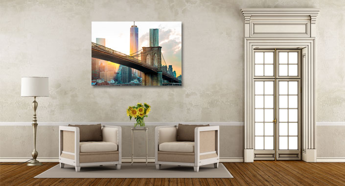 stadszicht schilderij nieuw