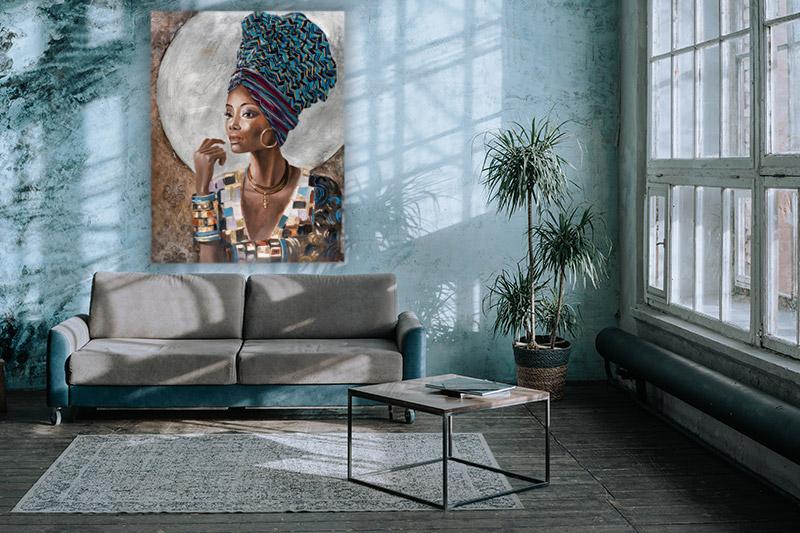 groot schilderij in woonkamer