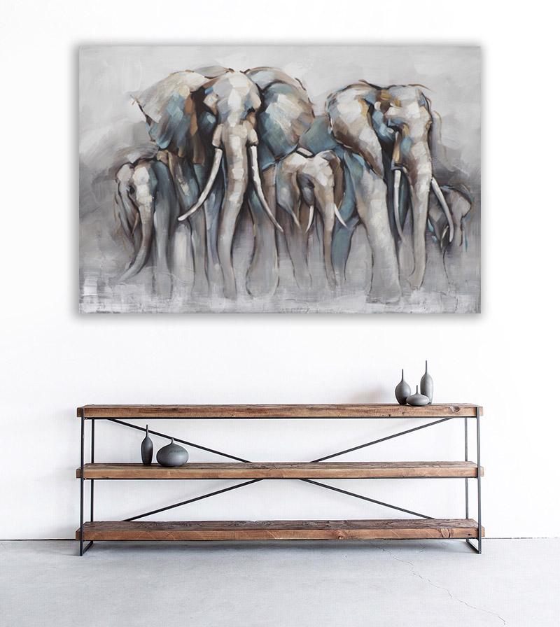 groot schilderij woonkamer olifant