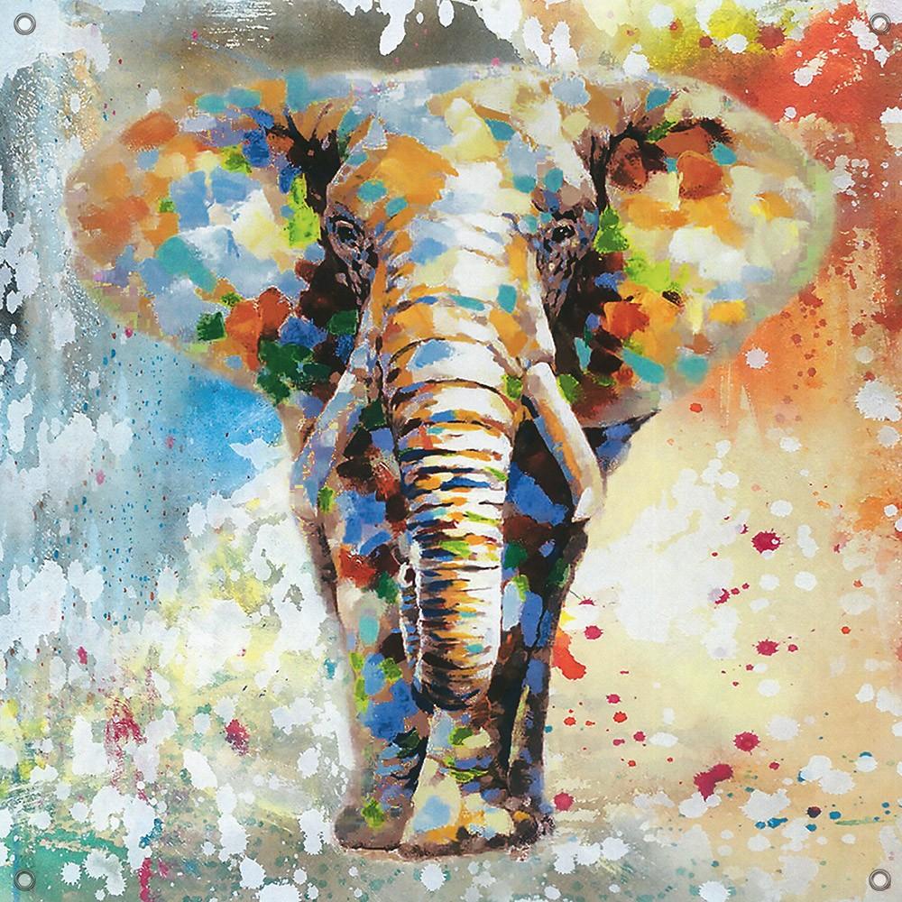 Tuinposter olifant kleurrijk